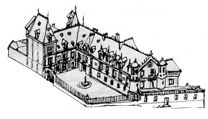 Le château du Prieuré (dessin F. Beaudouin)